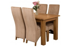 Hampton Solid Oak 120-160cm Extending Dining Table with 4 Lola Dining Chairs [Grey Fabric]