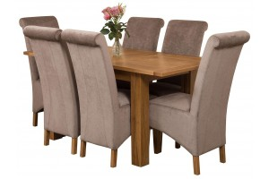 Hampton Solid Oak 120-160cm Extending Dining Table with 6 Montana Dining Chairs [Beige Fabric]