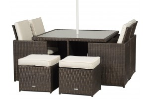 Giardino Rattan Garden Furniture [4 Seat Cube Dining Set Plus Umbrella]