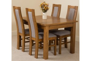 Cotswold Rustic Solid Oak 132cm-198cm Extending Farmhouse Dining Table with 4 Stanford Solid Oak Dining Chairs [Rustic Oak and Grey Fabric]