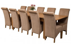 Richmond Solid Oak 200cm-280cm Extending Dining Table with 10 Montana Dining Chairs [Beige Fabric]
