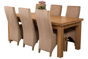Richmond Solid Oak 200cm-280cm Extending Dining Table with 6 Lola Dining Chairs [Beige Fabric]