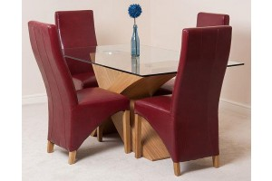 Valencia Oak 160cm Wood and Glass Dining Table with 4 Lola Dining Chairs [Burgundy Leather]