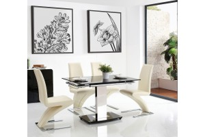 Front of Enzo 80-120cm Extending Glass Dining Table with 4 Zed Designer Dining Chairs [Ivory]