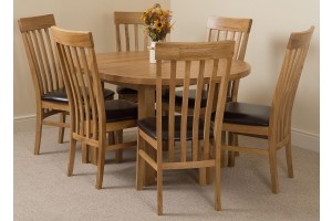 Edmonton Solid Oak Extending Oval Dining Table With 6 Harvard Solid Oak Dining Chairs [Light Oak and Brown Leather]