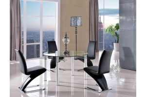 Torino Designer 74cm-120cm Extending Dining Table with 6 Zed Designer Dining Chairs [Black]