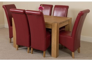 Kuba Solid Oak 125cm Dining Table with 6 Montana Dining Chairs [Burgundy Leather]