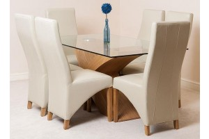 Valencia Oak 160cm Wood and Glass Dining Table with 6 Lola Dining Chairs [Ivory Leather]