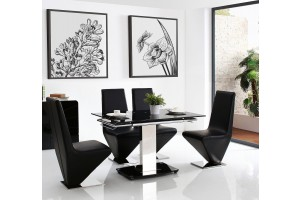 Front of Enzo 80-120cm Extending Glass Dining Table with 4 Rita Designer Dining Chairs [Black]