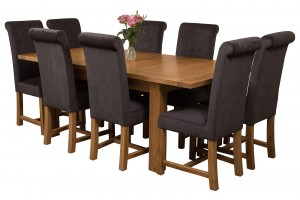Seattle Solid Oak 150cm-210cm Extending Dining Table with 8 Washington Dining Chairs [Black Fabric]