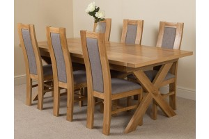 Vermont Solid Oak 200cm-240cm Crossed Leg Extending Dining Table with 6 Stanford Solid Oak Dining Chairs [Light Oak and Grey Fabric]