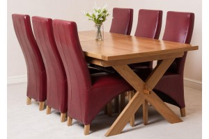 Vermont Solid Oak 200cm-240cm Crossed Leg Extending Dining Table with 6 Lola Dining Chairs [Burgundy Leather]