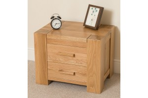 Kuba Solid Oak Bedside Table [2 Drawer]