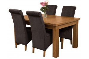 Seattle Solid Oak 150cm-210cm Extending Dining Table with 4 Montana Dining Chairs [Black Fabric]