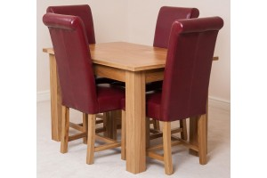 Hampton Solid Oak 120-160cm Extending Dining Table with 4 Washington Dining Chairs [Burgundy Leather]