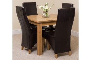 Oslo Solid Oak Dining Table with 4 Lola Dining Chairs [Brown Leather]