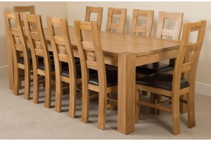 Kuba Solid Oak 220cm Dining Table with 10 Yale Solid Oak Dining Chairs [Light Oak and Brown Leather]