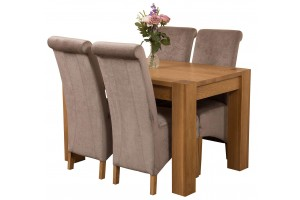 Kuba Solid Oak 125cm Dining Table with 4 Montana Dining Chairs [Grey Fabric]