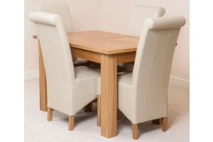 Hampton Solid Oak 120-160cm Extending Dining Table with 4 Montana Dining Chairs [Ivory Leather]