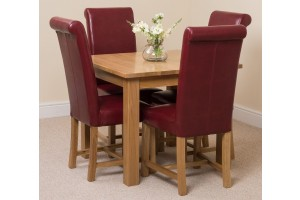 Oslo Solid Oak Dining Table with 4 Washington Dining Chairs [Burgundy Leather]