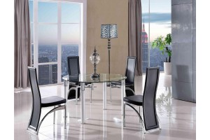 Torino Designer 75cm-120cm Extending Dining Table with 6 Alisa Dining Chairs [Black]