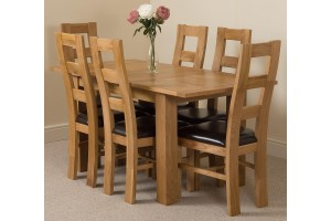 Hampton Solid Oak 120-160cm Extending Dining Table with 6 Yale Solid Oak Dining Chairs [Light Oak and Brown Leather]