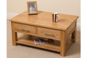 Oslo Solid Oak Coffee Table [2 Drawer]