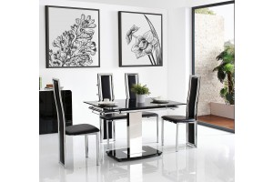Front of Enzo 80-120cm Extending Glass Dining Table with 4 Elsa Designer Dining Chairs [Black]
