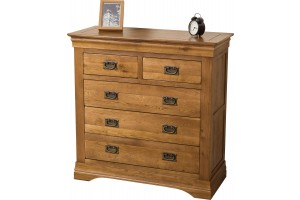 French Chateau Rustic Solid Oak Chest of Drawers [2+3 drawer]