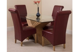 Valencia Oak 160cm Wood and Glass Dining Table with 4 Montana Dining Chairs [Burgundy Leather]