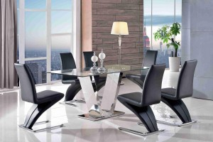 Valentino Glass and Steel Designer Dining Table with 6 Zed Designer Dining Chairs [Black]
