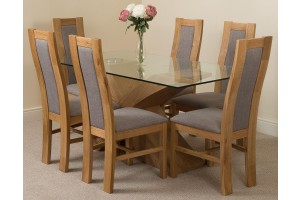 Valencia Oak 160cm Wood and Glass Dining Table with 6 Stanford Solid Oak Dining Chairs [Light Oak and Grey Fabric]