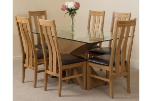 Valencia Oak 160cm Wood and Glass Dining Table with 6 Princeton Solid Oak Dining Chairs [Light Oak and Brown Leather]