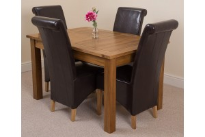 Cotswold Rustic Solid Oak 132cm-198cm Extending Farmhouse Dining Table with 4 Montana Dining Chairs [Brown Leather]