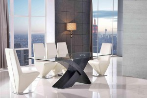 Valencia Black 160cm Wood and Glass Dining Table with 4 Rita Designer Dining Chairs [Ivory]