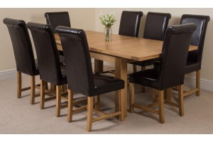 Seattle Solid Oak 150cm-210cm Extending Dining Table with 8 Washington Dining Chairs [Brown Leather]