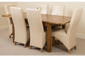 Cotswold Rustic Solid Oak 132cm-198cm Extending Farmhouse Dining Table with 6 Lola Dining Chairs [Ivory Leather]