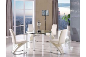 Torino Designer 74cm-120cm Extending Dining Table with 6 Zed Designer Dining Chairs [Ivory]