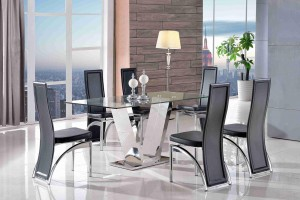 Valentino Glass and Steel Designer Dining Table with 6 Alisa Dining Chair [Black]