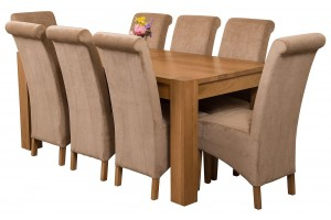 Kuba Solid Oak 180cm Dining Table with 8 Montana Dining Chairs [Beige Fabric]