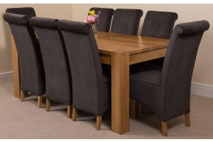 Kuba Solid Oak 180cm Dining Table with 8 Montana Dining Chairs [Black Fabric]