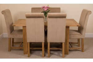 Hampton Solid Oak 120-160cm Extending Dining Table with 6 Washington Dining Chairs [Beige Fabric]
