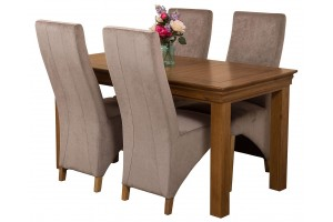 French Chateau Rustic Solid Oak 150cm Dining Table with 4 Washington Dining Chairs [Grey Fabric]