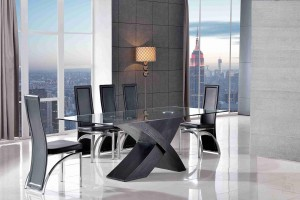 Valencia Black 200cm Wood and Glass Dining Table with 6 Alisa Dining Chair [Black]