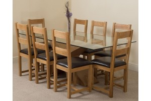 Valencia Oak 200cm Wood and Glass Dining Table with 8 Lincoln Solid Oak Dining Chairs [Light Oak and Brown Leather]