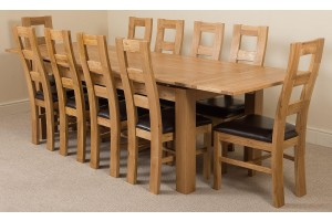Richmond Solid Oak 200cm-280cm Extending Dining Table with 10 Yale Solid Oak Dining Chairs [Light Oak and Brown Leather]