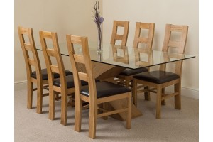 Valencia Oak 200cm Wood and Glass Dining Table with 6 Yale Solid Oak Dining Chairs [Light Oak and Brown Leather]