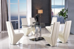 Roma Black Glass Dining Table with 6 Rita Designer Dining Chairs [Ivory]