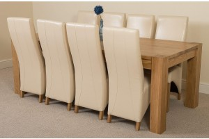 Kuba Solid Oak 220cm Dining Table with 8 Lola Dining Chairs [Ivory Leather]