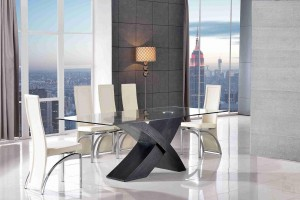 Valencia Black 200cm Wood and Glass Dining Table with 8 Alisa Dining Chair [Ivory]